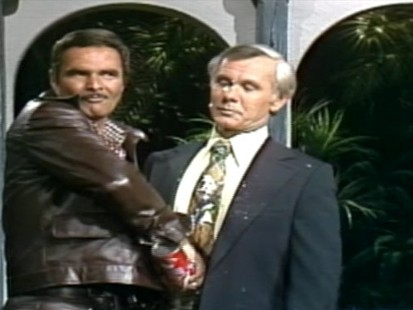 VIDEO: Burt Reynolds and Johnny Carson spray whipped cream at each other.