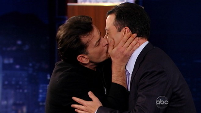 VIDEO: Charlie Sheen brings gifts and affection to Jimmy Kimmel Live.