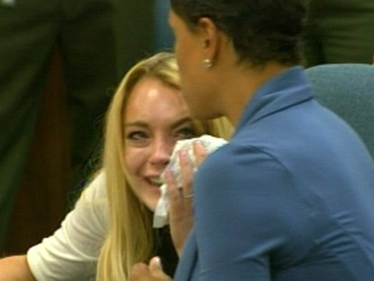 VIDEO: Lindsay Lohan cries while being sentenced to 90 days in jail and 90 days in rehab.