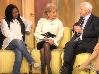 Picture of Whoopi Goldberg, Barbara Walters and John McCain.