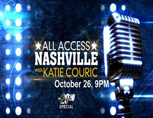 "Watch ""All Access Nashville With Katie Couric,"" a special edition of ""20/20,"" Friday at 9 p.m. ET."