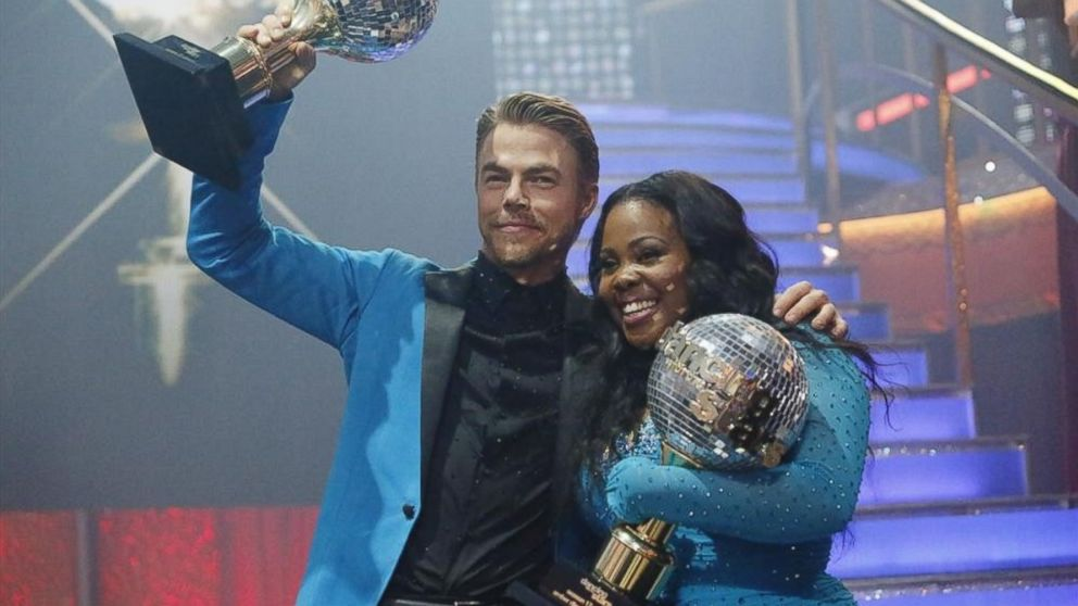 "PHOTO: Amber Riley and Derek Hough were crowned Season 17 Champions and awarded the coveted Mirror Ball Trophy, on the two-hour Season Finale on ""Dancing with the Stars"" on Nov. 26, 201"