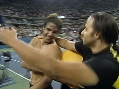 VIDEO: Rafael Nadal almost gets a surprise kiss from a male spectator at the U.S. Open.