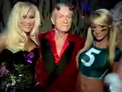 Picture of Hugh Hefner at Playboy Halloween party.