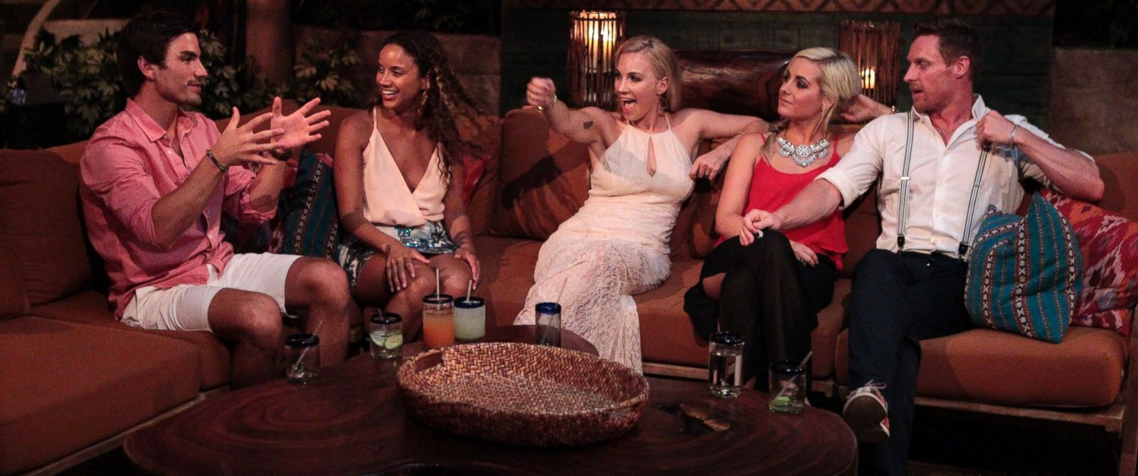 """PHOTO: Jared Haibon, Amber James, Megan Bell, Carly Waddell and Kirk Dewindt appear in """"Bachelor in Paradise"""" on Aug. 17, 2015."""
