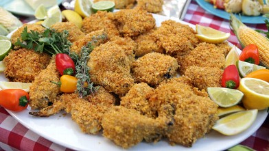 "PHOTO: Buttermilk ""not-fried"" chicken is shown here."
