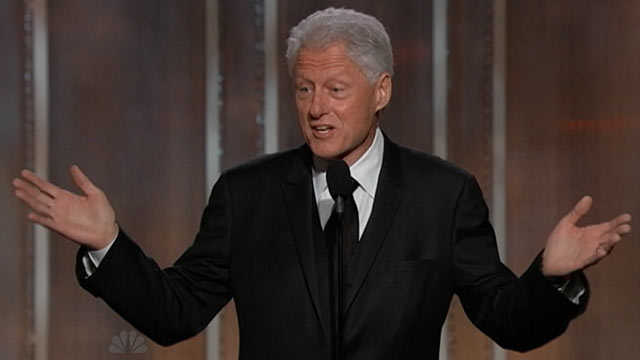 PHOTO: Bill Clinton during the 2013 Golden Globe Awards, Jan. 13, 2012.