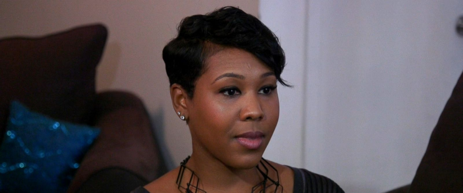 "Monet Bell, 34, who first appeared on FYIs ""Married at First Sight"" and now appears on ""#BlackLove,"" is shown here during an interview with ABC News ""Nightline."""