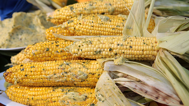 Fire-Roasted Corn with Mango-Habanero-Cilantro Butter | Bobby Flay ...