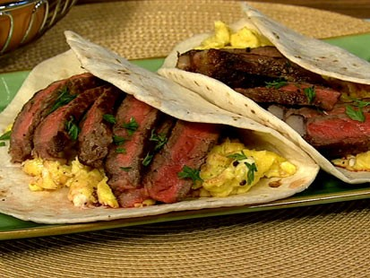 Michael Symon's steak and scrambled egg tacos are shown here.