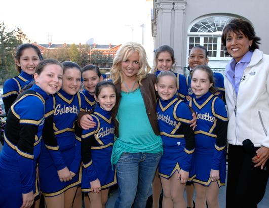 "Spears posed with ""GMA's"" Robin Roberts and the Gatorettes on Mardi Gras week in February 2006 when ""Good Morning America"" broadcast live from New Orleans."