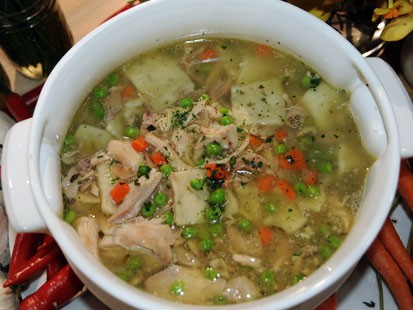 Emeril's chicken and dumplings recipe is shown here.