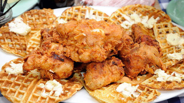 chicken waffles buttermilk waffles topped chicken and waffles chicken ...