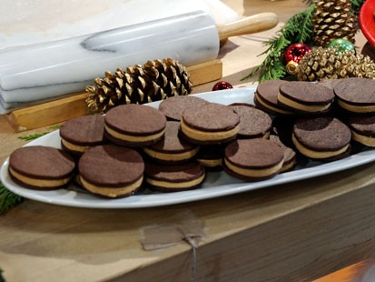 Emeril's chocolate wafer cookies with peanut butter fudge are shown here.