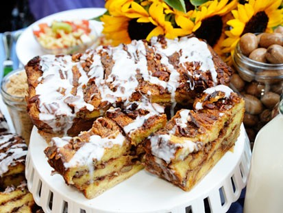 Ted Allen's sticky bun bread pudding is shown here.