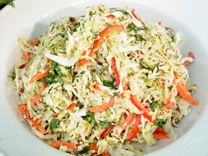 Adam Perry Lang's green apple, cabbage and caraway slaw is shown here.