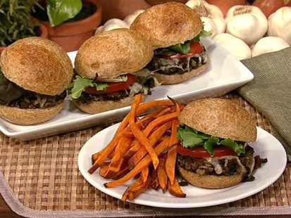 PHOTO: Daphne Ozs mushroom sliders with sweet potato oven fries are shown here.