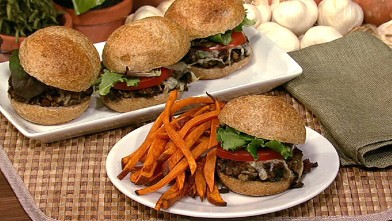 PHOTO: Daphne Oz's mushroom sliders with sweet potato oven fries are shown here.