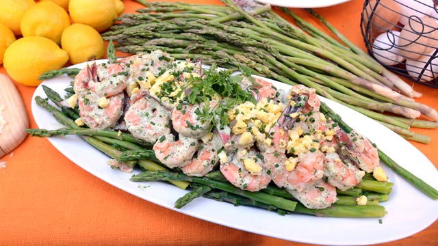 PHOTO: Emeril's asparagus with poached shrimp salad