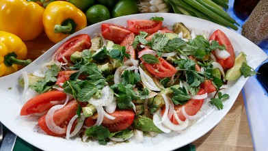 PHOTO: Emeril's avocado, tomato and vidalia onion salad is shown here.
