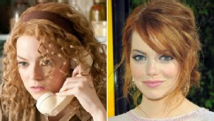 "PHOTO: Emma Stone is shown in a scene from the movie, ""The Help,"" left, and  arriving at the film's Los Angeles Premiere held at the Academy of Motion Picture Arts and Sciences' Samuel Goldwyn Theater, Aug. 9, 2011 in Beverly Hills, Calif."