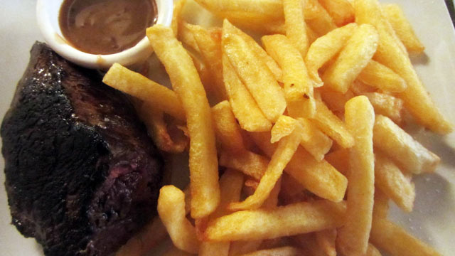 PHOTO: Entrecote steak is shown here, served here saignant, or rare.