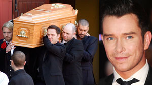 PHOTO Members of Irish band Boyzone, Ronan Keating, foreground left,  Mikey Graham foreground centre,  and Shane Lynch background right, carry the coffin of fellow band member Stephen Gately (inset) from St. Laurence OToole Church, after the funeral serv