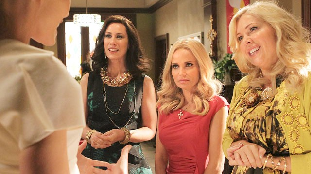 "PHOTO: From left, Miriam Shor, Kristin Chenoweth, and Jennifer Aspen are shown in a scene from ""GCB""."