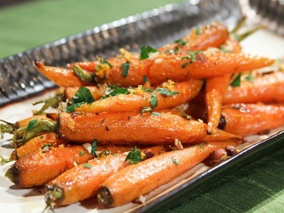 Daphne Oz's ginger-glazed carrots are shown here.