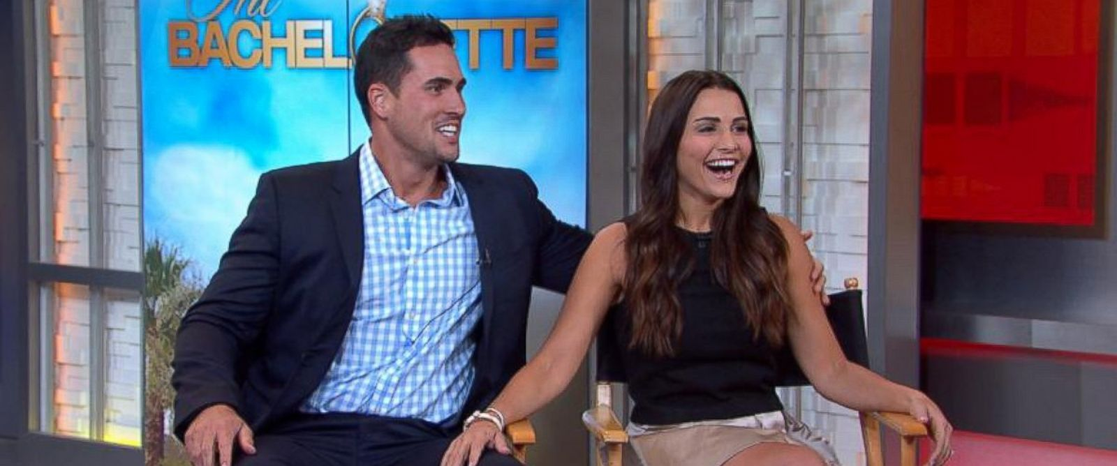 PHOTO: Andi Dorfman and Josh Murray appear on Good Morning America on July 29, 2014.