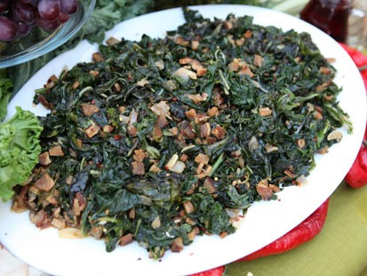 Michael Symon's southern greens recipe is shown here.