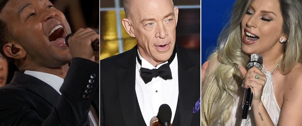 PHOTO: John Legend, J.K. Simmons and Lady Gaga during the 87th annual Academy Awards, Feb. 22, 2015 in Hollywood, Calif.