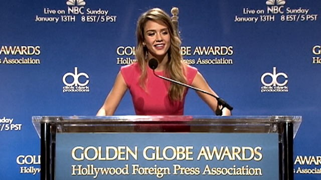 PHOTO:&nbsp;Jessica Alba announces the nominees for the 2012 Golden Globes.