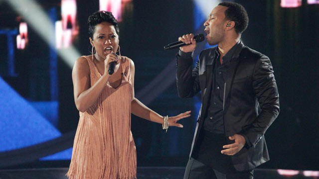 PHOTO: John Legend and Bridget Carrington perform together on &quot;Duets&quot; on June 20, 2012.