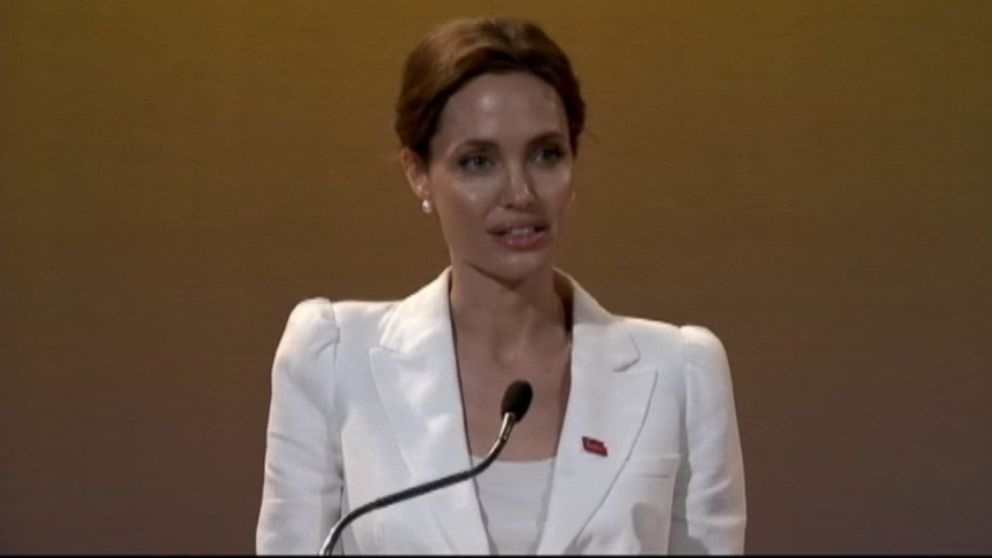 VIDEO: The actress opened a global summit in London aimed at ending sexual violence in war zones.