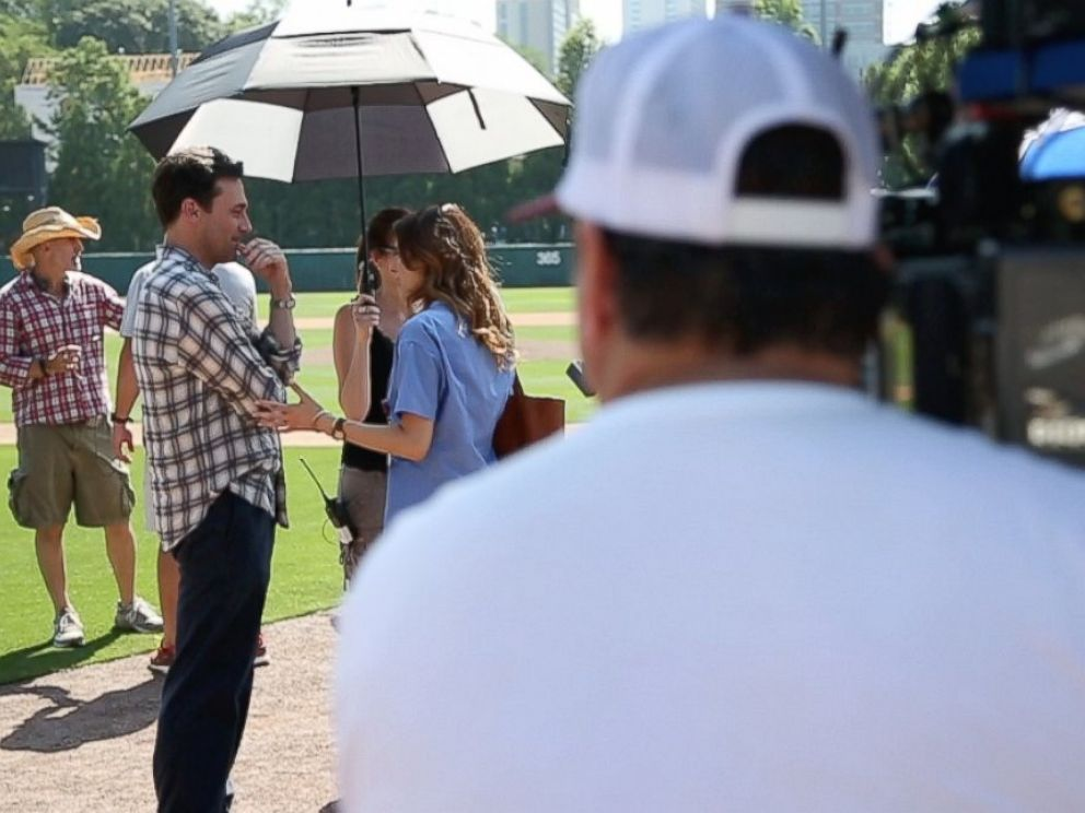 Actor Jon Hamm, who plays sports agent JB Bernstein in Million Dollar Arm shown here on set.