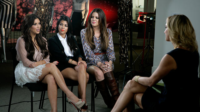 "PHOTO: Kim, Khloe and Kourtney Kardashian are being interviewed by ""Good Morning Americas"" Lara Spencer."