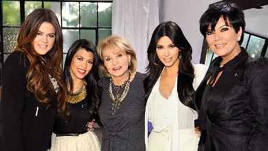 "PHOTO: Barbara Walters interviews the Kardashians for her annual ""Most Fascinating People"" special airing on the ABC Television Network."