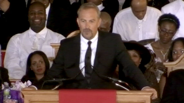 PHOTO: Kevin Costner speaks at the Funeral for Whitney Houston on Feb. 18, 2012 in New Jersey.