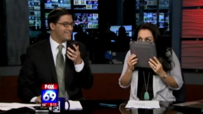 VIDEO: San Diego morning show anchor licks iPad in April Fools' joke.