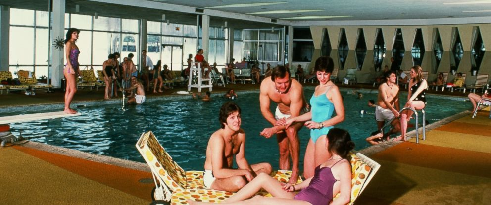 """Kutshers indoor pool is shown here in the 1980s, around the time """"Dirty Dancing"""" was released. The documentary, """"Welcome to Kutshers: The Last Catskills Resort,"""" follows the resorts 100-year history."""