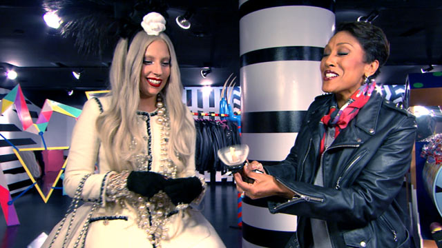 "PHOTO: Lady Gaga chats about the holidays with Robin Roberts on ""Good Morning America,"" Nov. 22, 2011."