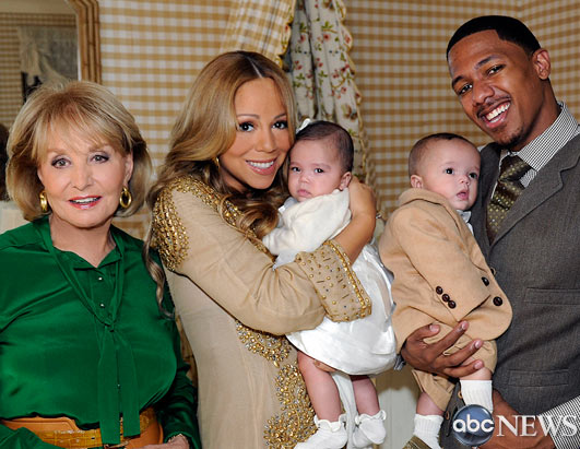 "PHOTO: Mariah Carey and Nick Cannon debut their twins, Moroccan and Monroe, to Barbara Walters on ""20/20."""