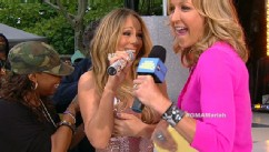 PHOTO: Mariah Carey laughs her way through a wardrobe malfunction during her performance on 'Good Morning America,' May 24, 2013.