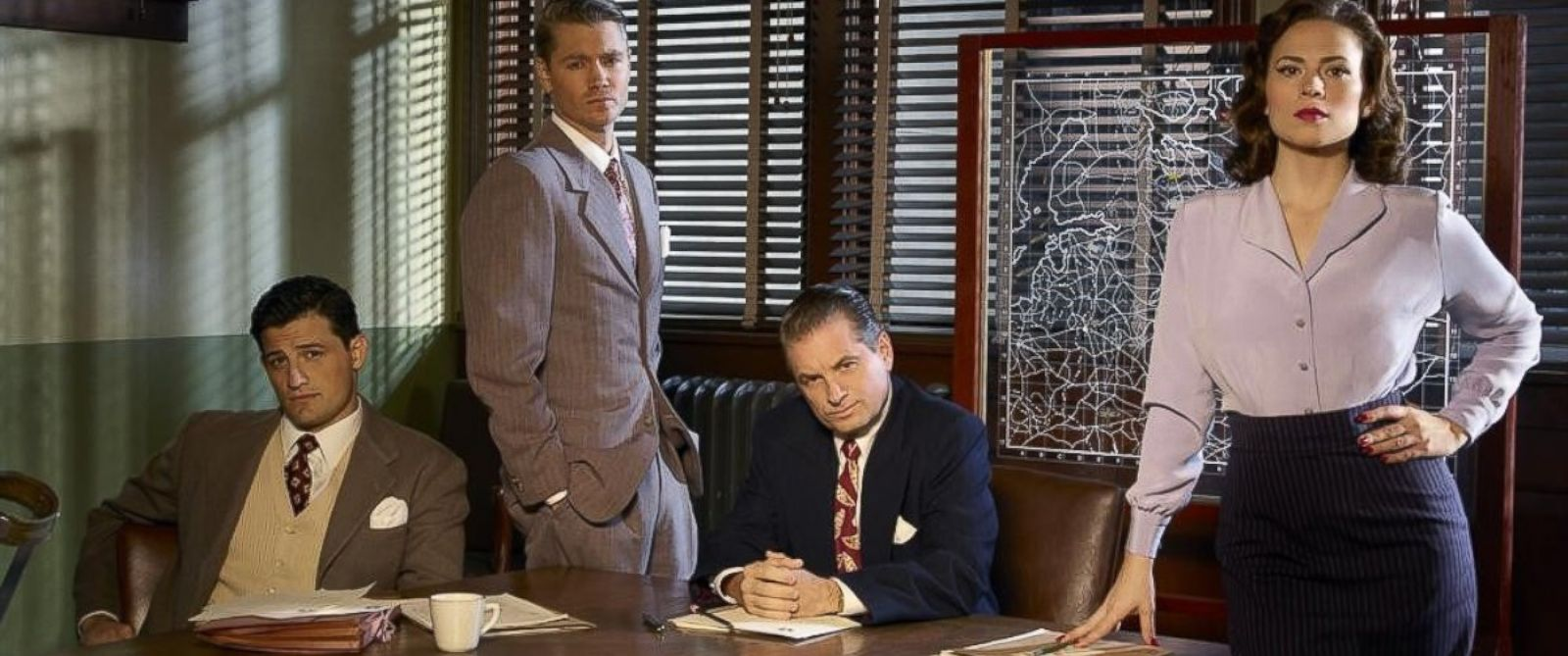 "PHOTO: ABCs ""Marvels Agent Carter"" stars Enver Gjokaj as Agent Daniel Sousa, Chad Michael Murray as Agent Jack Thompson, Shea Whigham as Chief Roger Dooley and Hayley Atwell as Agent Peggy Carter."