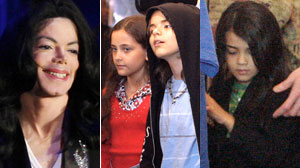 Michael Jackson and his chilren, left to right, Paris, Prince Michael I and Prince Michael II.