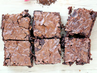 Erin Chase's one-bowl mocha brownies are shown here.