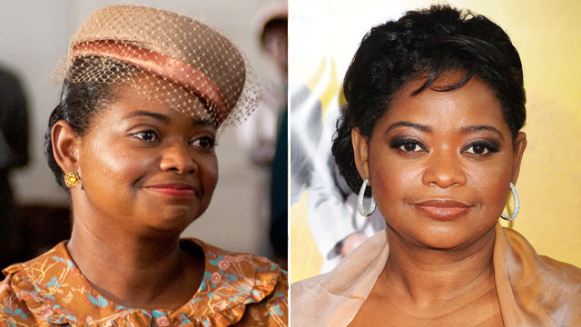 "PHOTO: Octavia Spencer is shown in a scene from the movie, ""The Help,"" left, and arriving at the film's Los Angeles Premiere held at the Academy of Motion Picture Arts and Sciences' Samuel Goldwyn Theater, Aug. 9, 2011 in Beverly Hills, Calif."