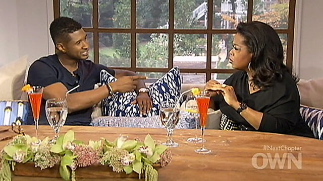 "PHOTO: Oprah Winfrey, right, interviews Usher for an episode of ""Oprah's Next Chapter."""