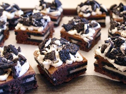 Lauren Torrisi's Oreo cheesecake brownies are shown here.